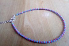 blue and coral bead ankle bracelet boohoo summer funky