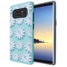 For Samsung Galaxy NOTE 8 -3D White Daisy Teal Hybrid Rubber Protector Skin Case