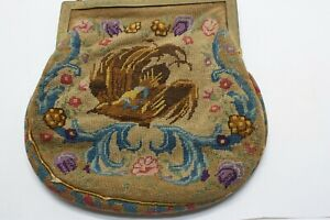 ABSOLUTELY LOVELY ANTIQUE NEEDLEPOINT PURSE - NEEDS A TINY BIT OF TLC - LOOK!