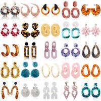 Fashion Women Geometric Dangle Drop Hook Acrylic Resin Ear Stud Earrings Jewelry