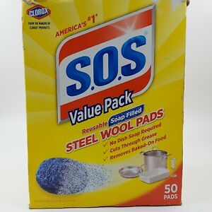 New Clorox S.O.S Steel Wool Pads Value Pack Reusable Soap Filled 50 pads
