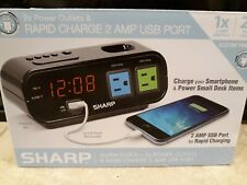 Sharp Alarm Clock with 1 Rapid Charge Usb/Ac Power Outlets Digital Alarm Clock