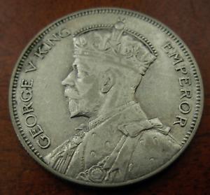 New Zealand 1935 Silver 1/2 Crown AU George V