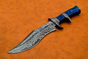 CUSTOM HANDMADE Damascus STEEL Bowie knives with Dollar Wood Handle