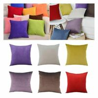 """Solid Suede Nap Cushion Cover Home Decor Bed Sofa Throw Pillow Case 18""""x18"""" Sy"""