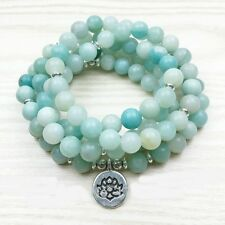 Amazonite108 Buddhist mala prayer beads & silver spacers New - just made 8mm bds
