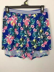 28/28 100% Cotton Sleep Shorts Elastic Band BLUE Tropical Lane Bryant New NWOT