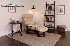 Contemporary Leather Stressless Recliner Ottoman Headrest Soft Swivel wood Base