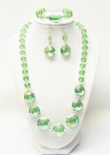 "Light Green Crystal Faceted Glass Bead Necklace/Bracelet/Earrings Set (21.5"")"