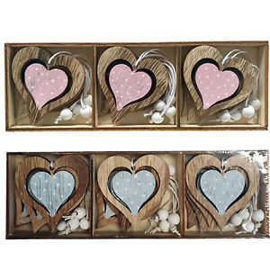 Small Wooden Hanging Hearts Shabby Chic Rustic Ornaments Blue Pink Decorations
