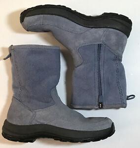 LL Bean Women's Suede Fleece ZipUp Insulated Winter Boots Size 6.5 M