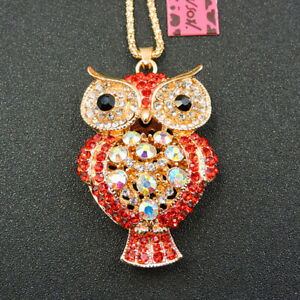 Women's AB Red Crystal Cute Owl Animal Pendant Betsey Johnson Chain Necklace