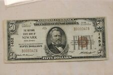 $50 1929 Newark NJ National Currency Bank Note Bill! Ch. #1452  Very low serial