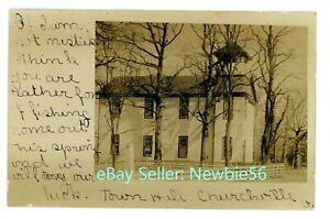 Churchville Virginia VA - TOWN HALL BUILDING - RPPC Postcard near Staunton
