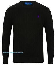 Ralph Lauren Polo Mens Black Cable Knit Crew Neck Jumper S-XXL RRP £125 GENUINE