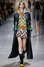 MIU MIU F/W 2014 RUNWAY Black Calf Skin Leather Raincoat Jacket Coat IT40/US6