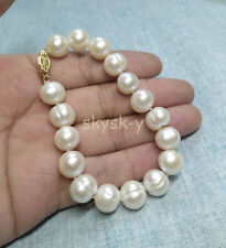 "HUGE AAA 12-13mm South Sea White Baroque Pearl Bracelet 7.5-8"" 14k Gold Clasp"