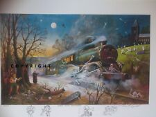"""STEAMPUNK """"GHOST TRAIN"""" signed Raymond Campbell print with remarques"""