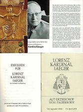Exequien Lorenz cardinale Jaeger Alt-arcivescovo Paderborn, libretto + morti biglietto'75