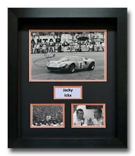 JACKY ICKX HAND SIGNED FRAMED PHOTO DISPLAY - LE MANS - FORD GT40.