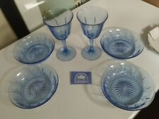 "Set 4 Avon American Blue by Fostoria 6 3/4"" Cereal Bowls Glass + 2 Wine Glasses"