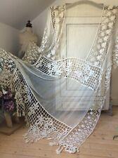 Antique French Linen Panel ~Stunning Lg Ecru Chateau Window Filet Lace & Tassels