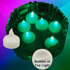 New Safe Floating Christmas Green Led Tea Lights Lighting Decorations 12 Pieces