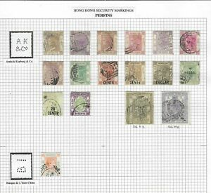 Hong Kong QV to KGVI accumulation of used perfins x 93