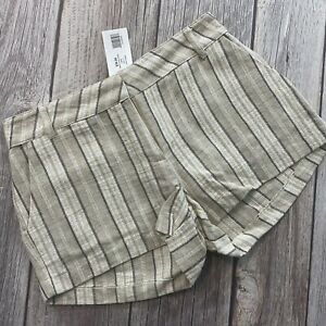 "Fab'rik Womens Size Small 3"" Inseam Linen Khaki Pinstripe Casual Shorts NWT"
