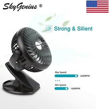 Portable USB Mini Fan 2600mA Battery Operated Rechargeable Clip On Desk Fan