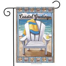 "Coastal Greeting Beach Summer Garden Flag Nautical Shells Surf Sand 12.5"" x 18"""