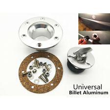 Silver Billet Aluminum Fill Fuel Cell Gas Cap with 6 Hole Cell Bung Anodized