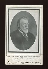 New Zealand Richard J. SEDDON Prime Minister memorium black lined c1906 PPC