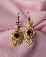 14k yellow gold round garnetl dangle lever back earrings