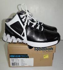 Reebok Zigkick Hoops Basketball Shoes Boys 4.5 Black White Zigtech High Tops