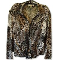 Joseph Ribkoff Womens Jacket Coat Black Leopard Print Zip Up Stretch 14