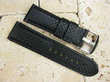New 24mm Black CARBON FIBER Leather Strap Watch Band PAM 24 44mm