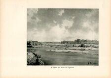 Stampa antica VIGEVANO veduta fiume Ticino dal ponte Pavia 1932 Old print