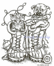 Christmas Holiday Boots Dog & Cat Wood Mounted Rubber Stamp NORTHWOODS P9252 New