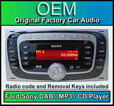 Ford Transit DAB radio car stereo, Ford Sony DAB CD MP3 player with removal keys