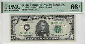 1969 $5 FEDERAL RESERVE NOTE KANSAS CITY FR.1969-J JA BLOCK PMG GEM UNC 66 EPQ