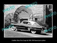 OLD POSTCARD SIZE PHOTO OF 1949 CADILLAC COUPE DE VILLE LAUCH PRESS PHOTO 2