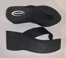 Black SODA Platform Flip Flops Thong Wedge Sandals ~ Size 7.5