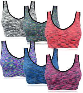 Fitness Sport Yoga BH Bügellos Bustier Soft BH mit Einlagen Trägertop