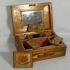 Coffret boite en marqueterie de paille daté 1844 ancienne XIXéme