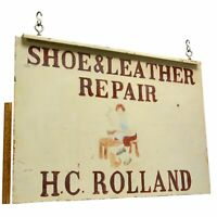"Vintage HAND-PAINTED ""SHOE REPAIR"" COBBLER SIGN Double-Sided Steel ""H.C ROLLAND"""