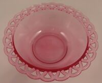 "Fenton Hot Pink Open Lace Edge Glass Servings Bowl 8"" Gorgeous!"