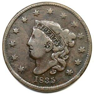 1835 N-4 R-4 Sm 8 & Stars Matron or Coronet Head Large Cent Coin 1c