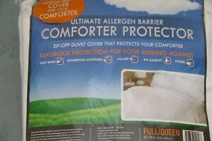 Claritin Ultimate Allergen Barrier Comforter Zip Off Protector Duvet Full/Queen