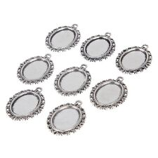 10Pcs 18*13mm Oval Alloy Base Cameo Setting Cabochon Charms Pendant DIY Necklace